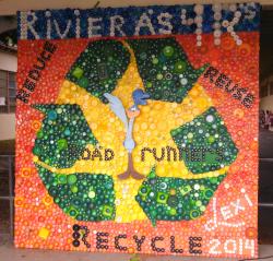 Riviera elementary unveils bottle cap mural grades of green for Bottle cap mural tutorial