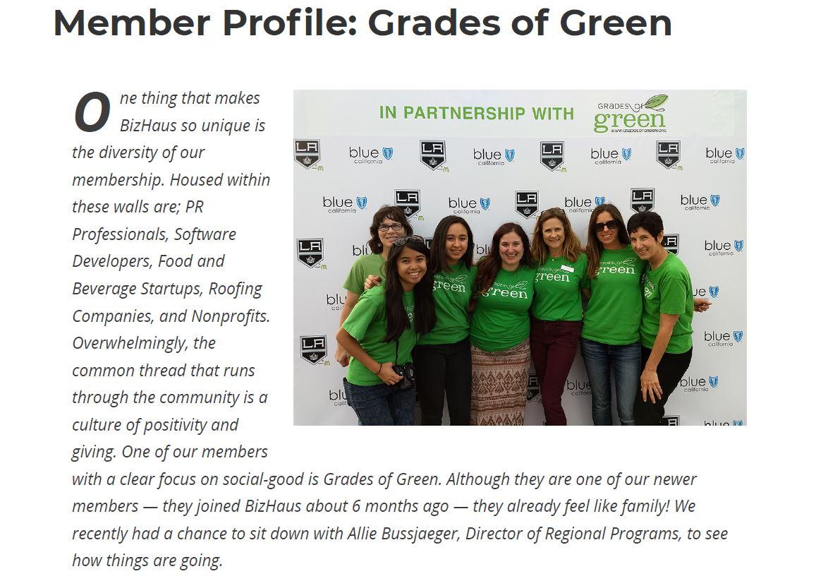 Grades of Green Featured in BizHaus's Blog